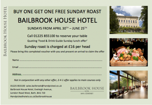 Bailbrook House two for one Sunday roast